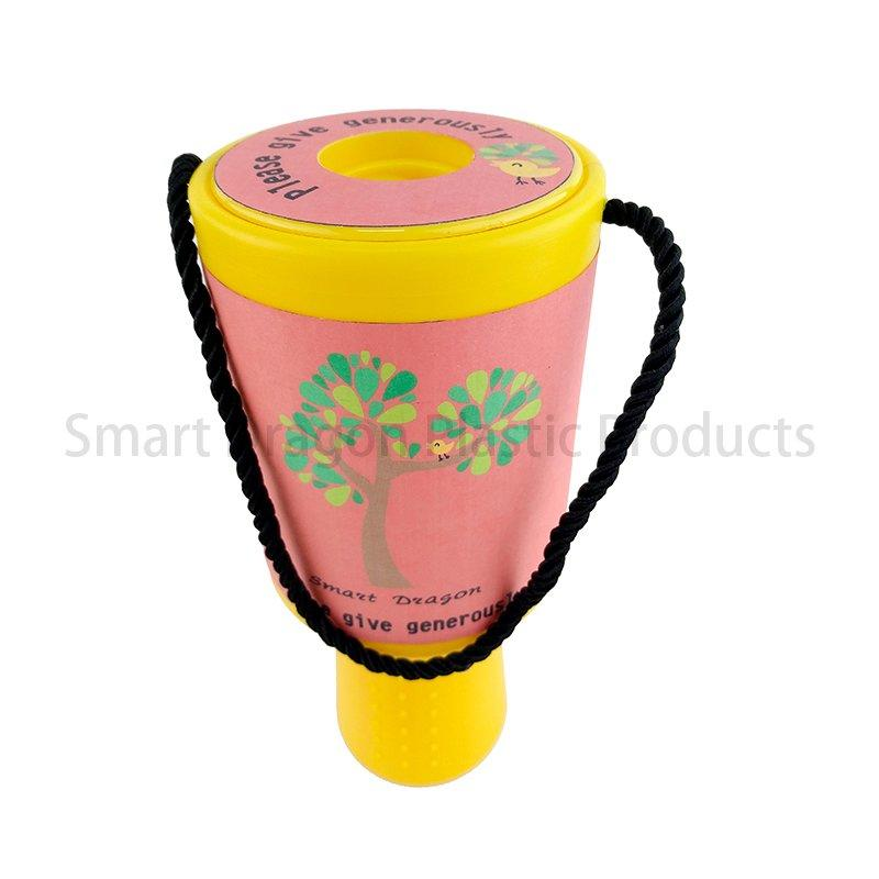 Yellow Rounded Hand Held Plastic Collection Charity Box