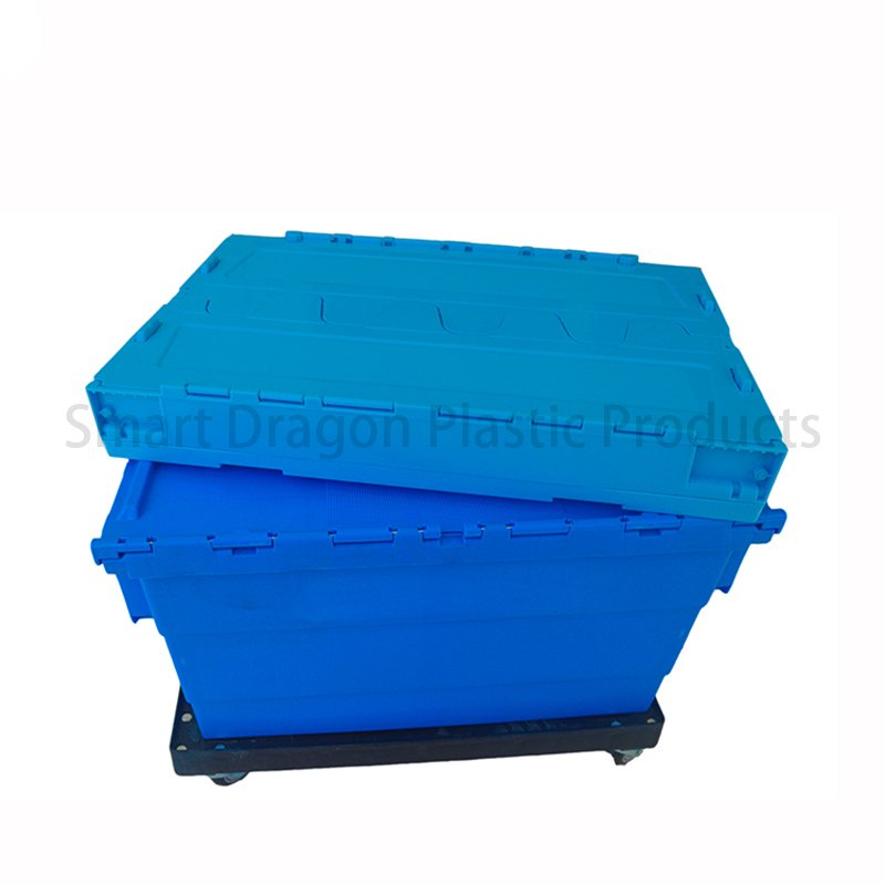 SMART DRAGON Blue Plastic Turnover Boxes Folding Crate Plastic Turnover Boxes image52