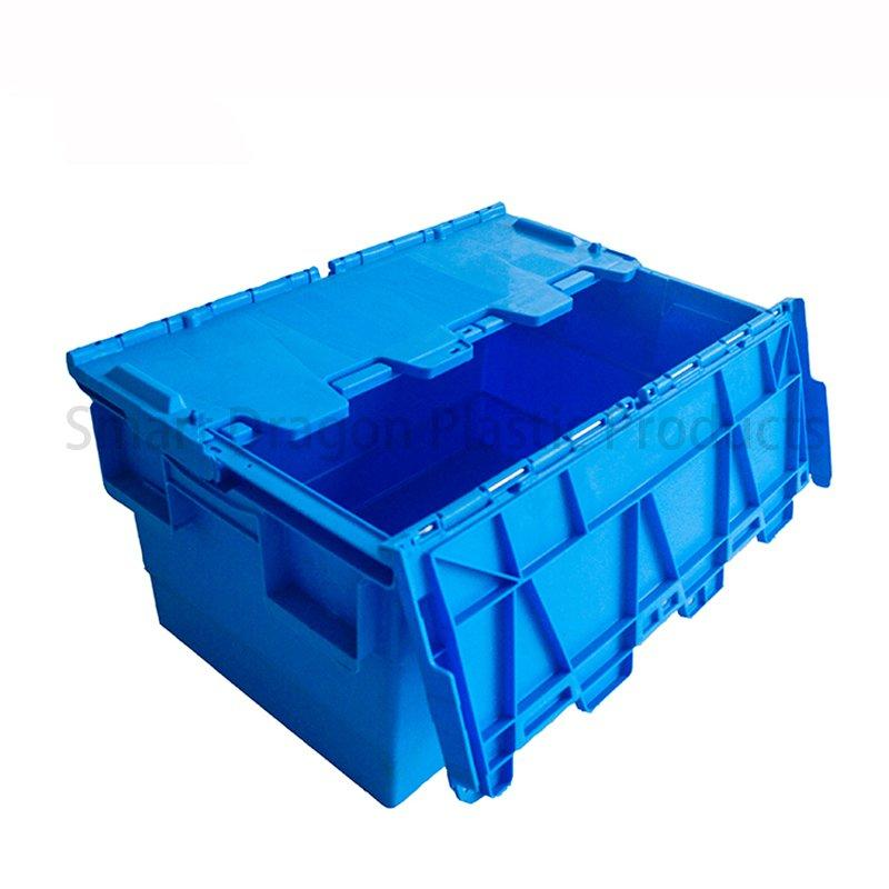 Blue Plastic Turnover Boxes Folding Crate