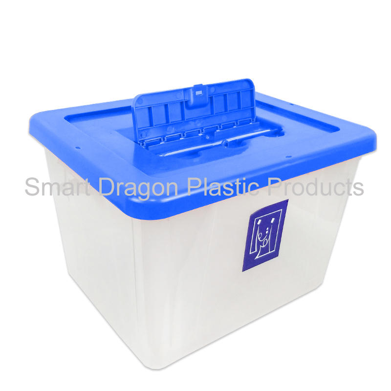 Cover is blue plastic transparent ballot box suitable for elections