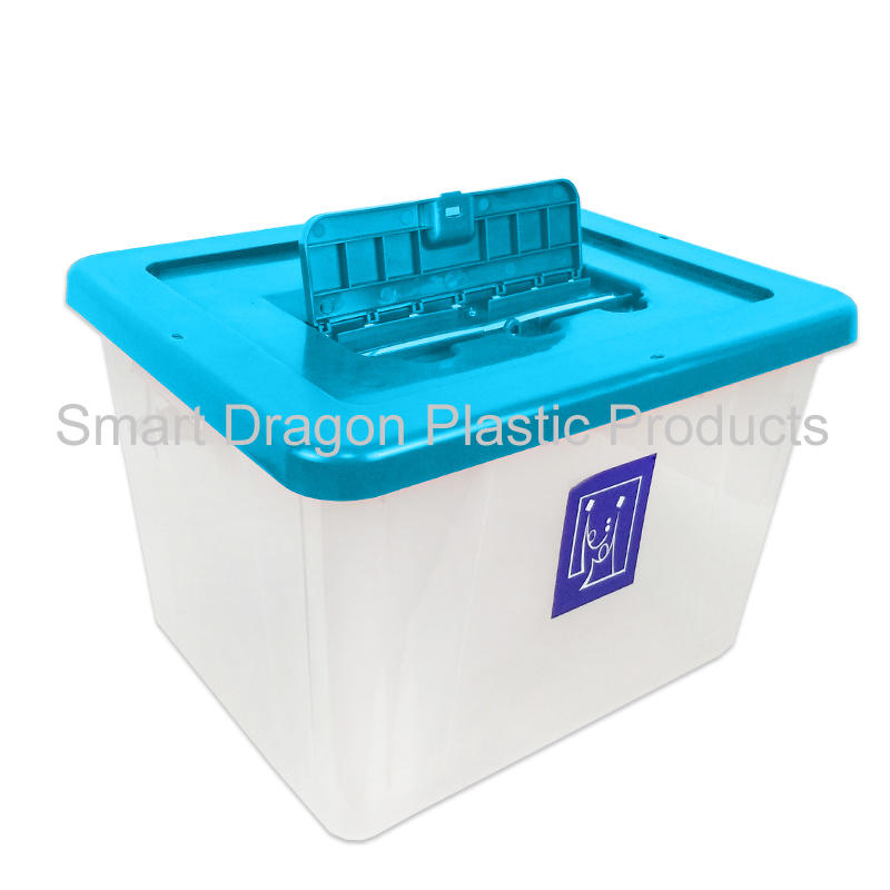 trabsparent PP plastic ballot box, blue clear voting box for election