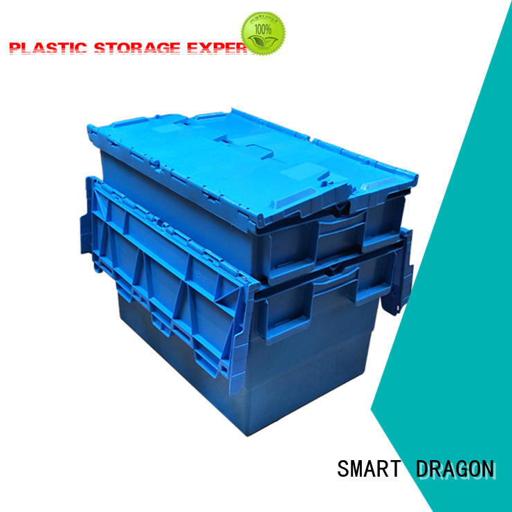 SMART DRAGON hand-moving stackable turnover box with lid for forwarder