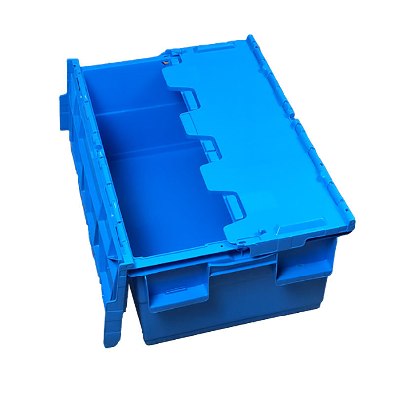 SMART DRAGON-Blue Stackable Nesting Plastic Turnover Boxes Crates With Lid | Plastic-2