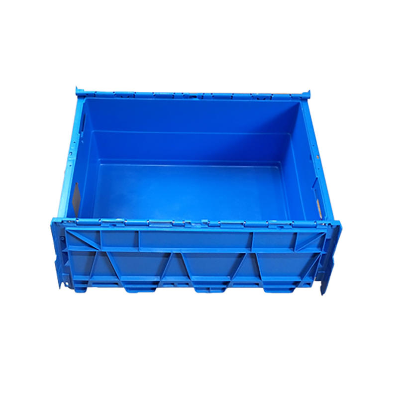 SMART DRAGON-Blue Stackable Nesting Plastic Turnover Boxes Crates With Lid | Plastic