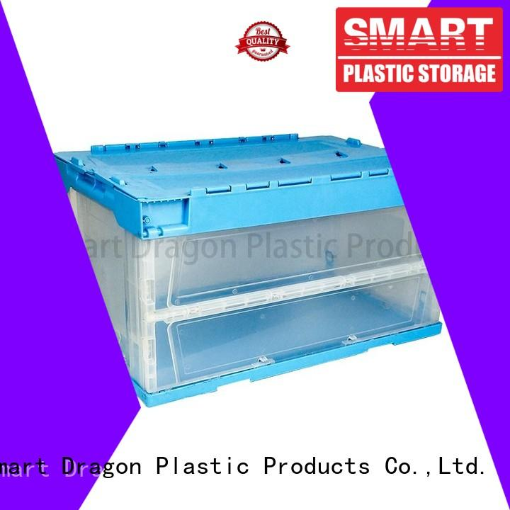 SMART DRAGON folding blue turnover crate for shipping